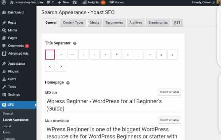 yoast search appearance