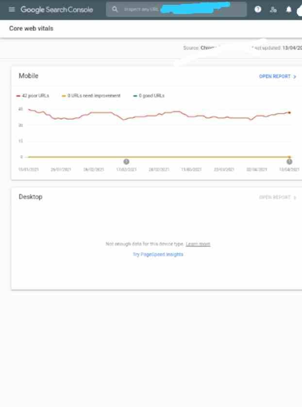 Google Search Console core web vital dashboard