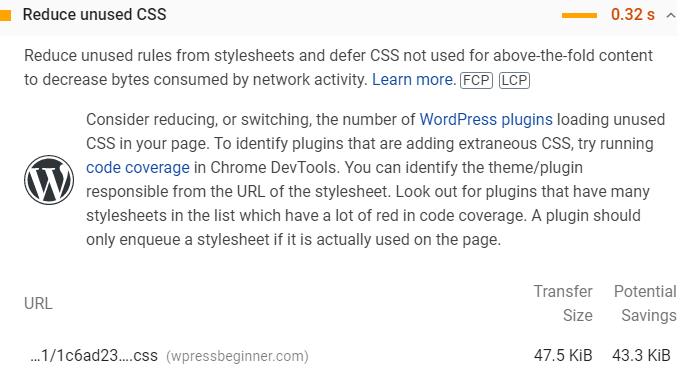 Unused CSS in WordPress