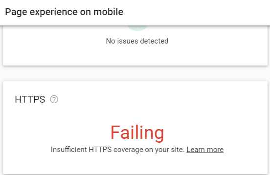 insufficient HTTPS coverage on your site