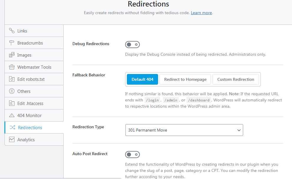 rankmath redirection tools