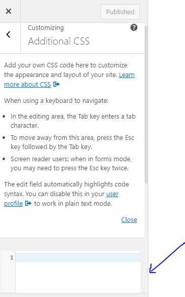Add additional CSS code screen