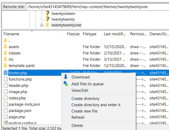 download and edit your theme file